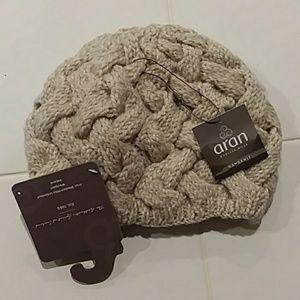 Aran wool knit hat